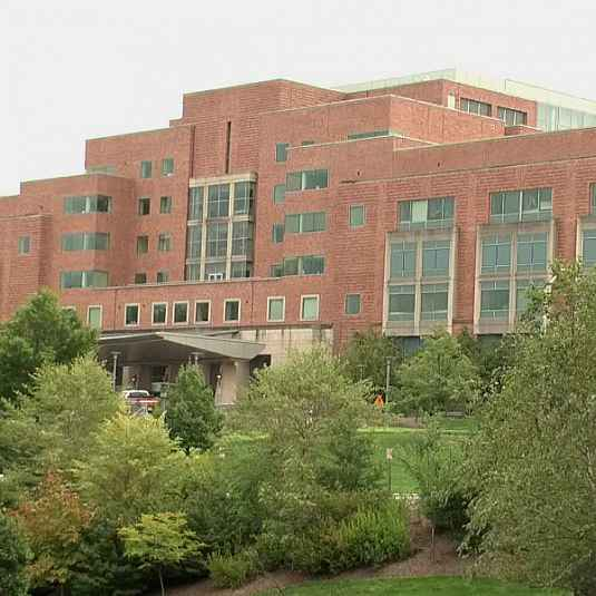 File footage of the the Clinical Center (Building 10), NIH Campus, Bethesda, MD