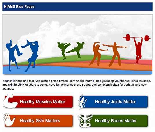 Screenshot of the NIAMS Kids Page home page.