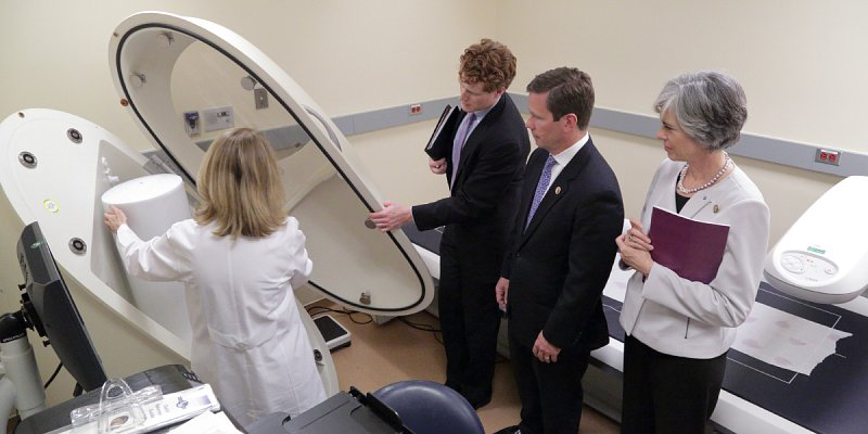 Rep. Joseph Kennedy (MA-4), former Rep. Robert Dold (IL-10), and Rep. Katherine Clark (MA-5), with Dr. Monica Skarulis, Section Chief, Clinical Endocrinology Section, National Institute of Diabetes and Digestive and Kidney Diseases, in the Metabolic Clinical Research Unit.