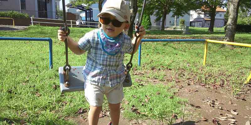 Child on playing on a swing