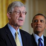 Photo of Dr. Francis Collins speaking as President Obama looks on.