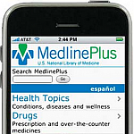Image of an iPhone displaying the MedlinePlus mobile website.