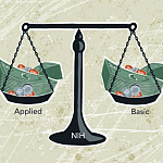 Illustration of legal scales filled with money.