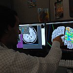 Researcher with brain imaging data.