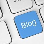 Blue blog key on a computer keyboard.