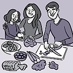 A family preparing healthy food together.