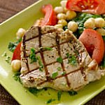 Grilled tuna with chickpea spinach salad.