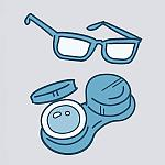 Illustration of eyeglasses and contact lenses in a case.