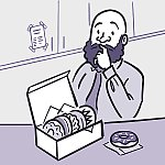 An illustration of a man looking pensively at a box of donuts.