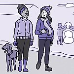 An illustration of a pregnant woman walking with a friend through a snowy neighborhood.