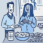 An illustration of adults at a holiday buffet table filled with healthy foods.