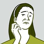An illustration of a woman scratching her throat.