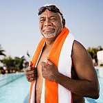 A senior man at the pool.