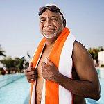 A senior man at the pool.