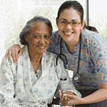 Senior woman with her doctor.