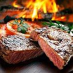 Steak and tomatoes.