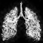 Vapor in the shape of lungs