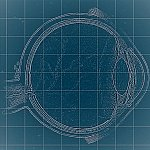Illustration of an eye on a blueprint