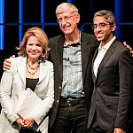 Renee Fleming, NIH Director Francis Collins, and former U.S. Surgeon General Vivek Murthy