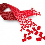 An AIDS ribbon depicted with broadly neutralizing antibodies.