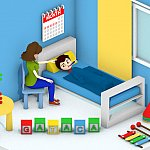 Illustration of a child in a bed with thermometer