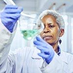 Mature scientist working in a lab