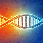 DNA strands on science background