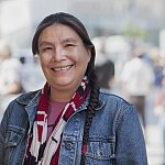 Native American lady street portrait - stock photo