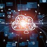Cloud computing concept. Communication network. - stock photo