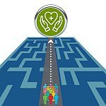 A group of people move over a maze toward a pair of hands flanking a heart symbolizing health and health equity