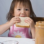 Girl eating a peanut butter sandwich.
