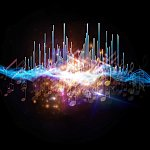 Abstract image of lights and soundwaves