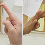 Tips of fingers are touching in left panel; they completely miss each other in left