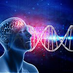 llustration of male head and brain with DNA strands in background