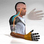 Illustration of man with prosthetic hand