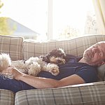 Man napping during daytime on the couch with a dog on stomach