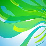 Abstract green wave stripe pattern background.