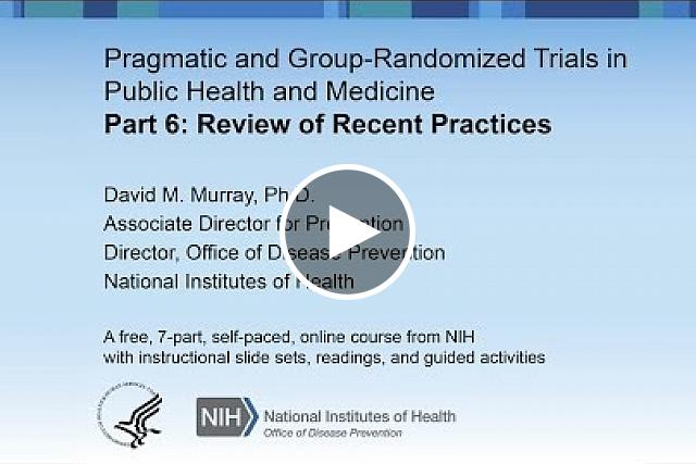 A review of recent practices in GRT is based on a review paper published by Murray et al. in 2008 in the JNCI.  A review of recent practice for individually randomized group-treatment trials is based on a paper published by Pals et al. in 2008 in AJPH.  Both papers review published studies and critique the methods used for design, sample size calculation, and analysis.